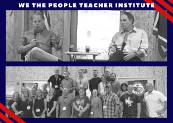 Teachers from Wyoming and North Dakota gathered during the We the People teachers' institute to listen to presentations from former U.S. Senator Doug Jones and constituitonal scholars Dr. David Adler and Professor Tim Moore.