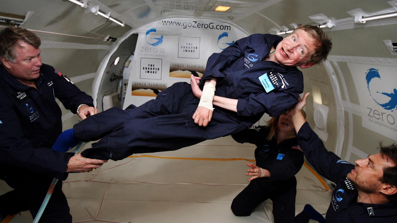 The physicist Stephen Hawking experiences zero gravity while flying aboard a specially modified Boeing 727. In his book Brief Answers to the Big Questions, Hawking wrote, If you look behind every exceptional person there is an exceptional teacher.